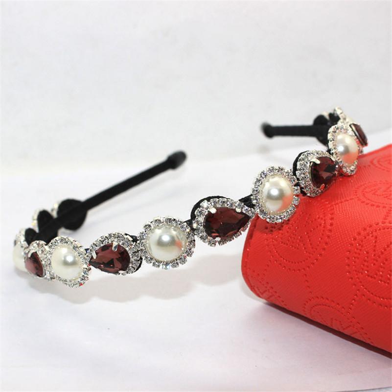 Women Korean Fashion Imitation Pearl Crystal Beads Hair Band Headband Accessories Classic Baroque Bridal Wedding Tiara Crown(China (Mainland))