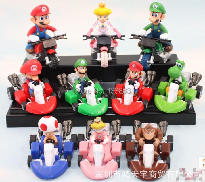 Wholesale for 10 sets Super Mario Bros Car Toy Full 10 pcs/set Super Mario Bros. Kart PULL BACK Cars Figures super mario figure(China (Mainland))