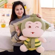 new arrival bee design cartoon scarf monkey plush toy soft throw pillow birthday gift w5484(China (Mainland))