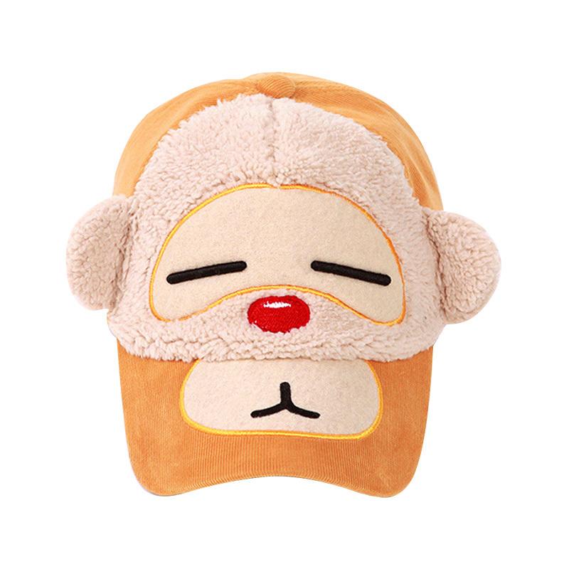 Hot Sale 2015 Winter Girls Fashion Baseball Caps Corduroy Cute Cartoon Kids Caps Outdoor Brand Children Sports Hats High Quality(China (Mainland))