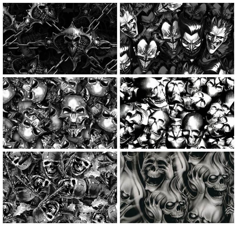 A4 size sample test pva water transfer printing activator Hot sale skull film 10 pieces hydrographics(China (Mainland))