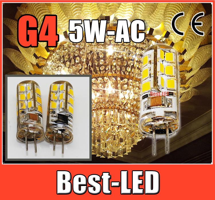 5 pcs high power led G4 AC 220V 5W 24 LEDS 2835 LED Crystal Lamps Silicone Candle Replace 40W halogen lamp, led bulb&led lights(China (Mainland))