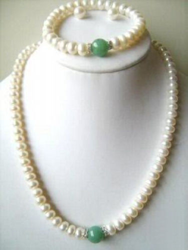 Free shipping hot sale Women Bridal Wedding Jewelry >>White Cultured Pearl/Green Emerald Beads Bracelet Necklace Earrings set(China (Mainland))