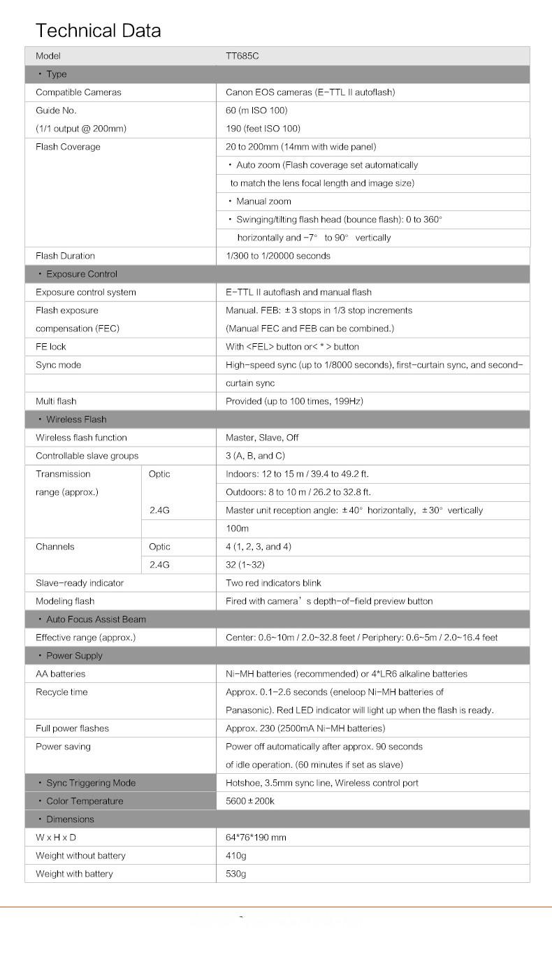 Original Godox TT685C flash Speedlite con E-TTL II HSS
