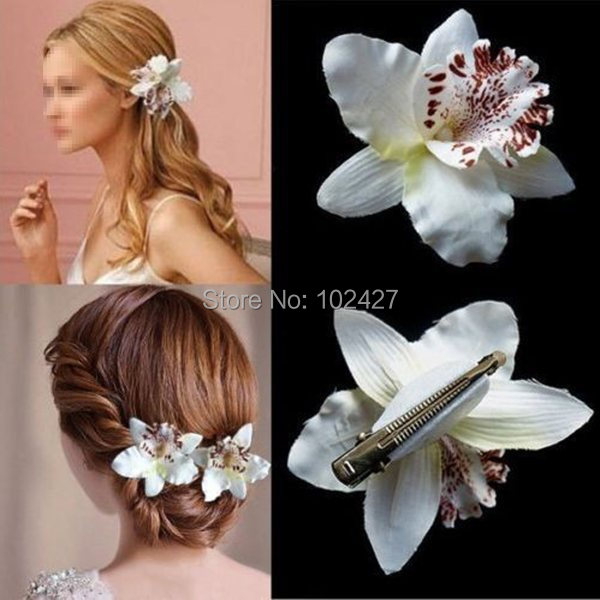 2Pcs Lots White Orchid Flower with Leopard Print Hair Clip Brooch Barrette for Wedding Bridal Hair Dress With Box(China (Mainland))