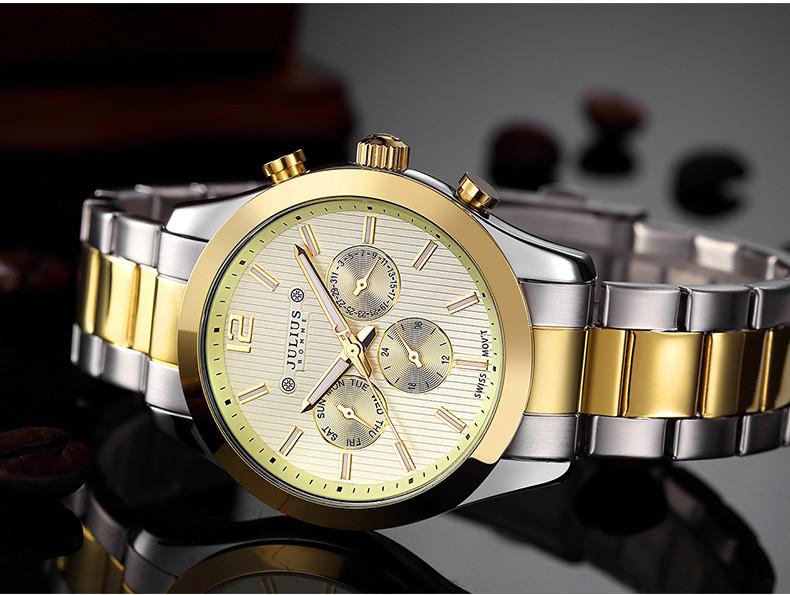 Юлий человек наручные часы кварцевых часов Swis Mov бизнес браслет кожаный функция именинник рождество валентина подарок 092