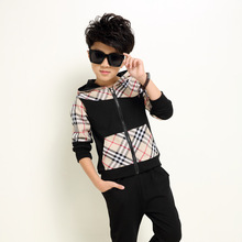 2015 New Design Boys Sports Hooded Clothing Sets Brand Plaid with Pocket Kids Suit High Cotton Coat + Pants Wear for Boys, RC242(China (Mainland))