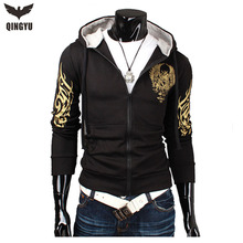 2016 Fashion Brand Sweatshirts Men Zipper Hoodies Printing Slim Men'S Sportswear Sport Suit Men Coat The Size M-XXL(China (Mainland))