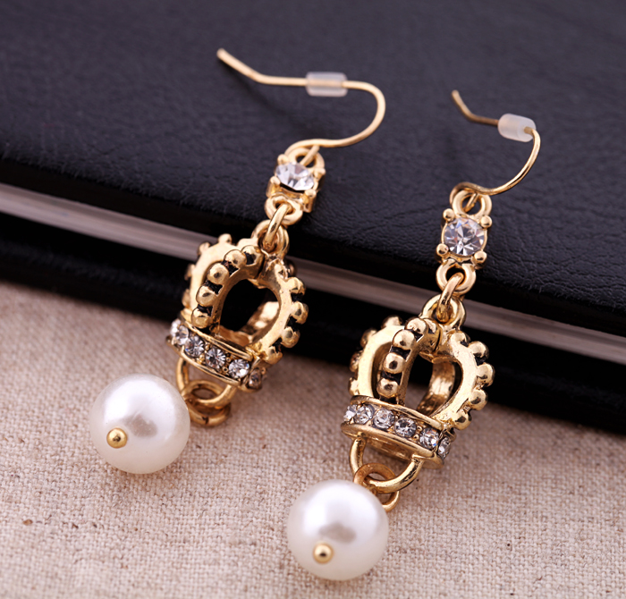 J well premier jewelry vintage crown dangle pearl gold for Premier jewelry cross ring