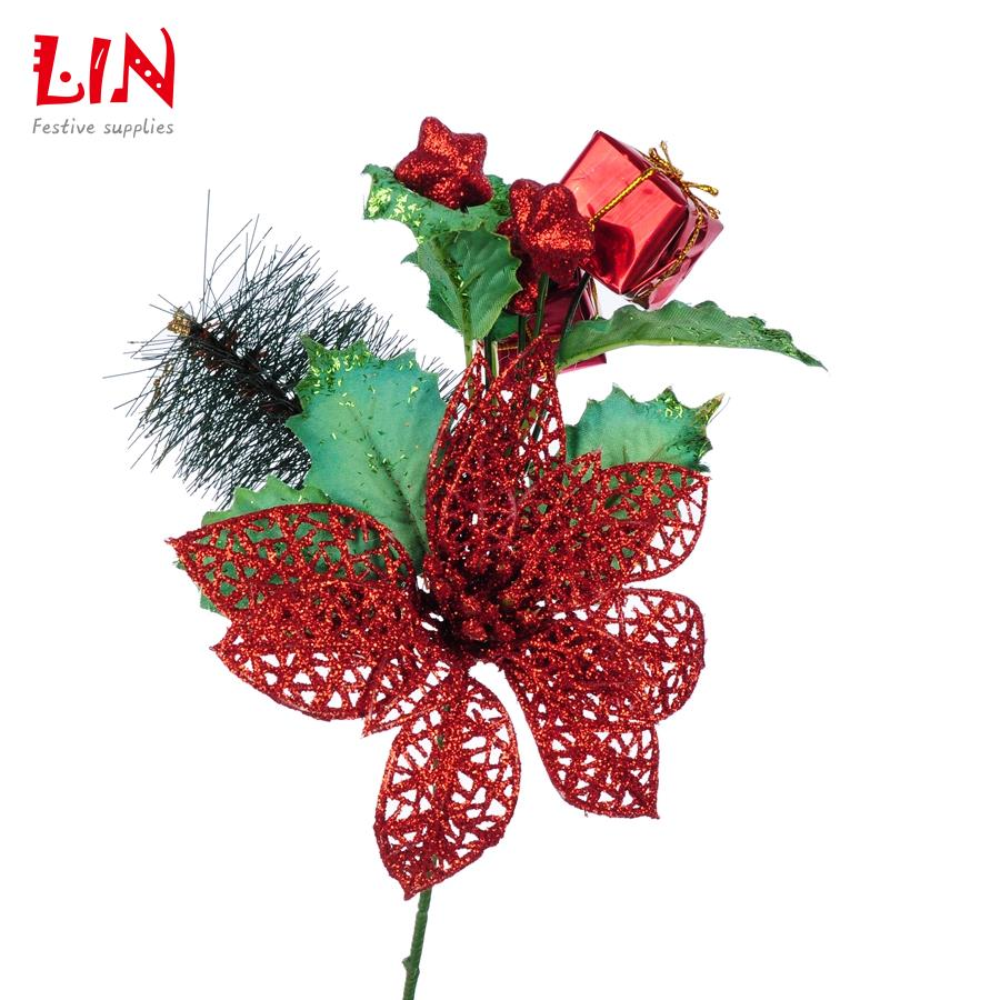 27cm-Christmas-tree-decoration-red-flower-gift-package-into-branches ...