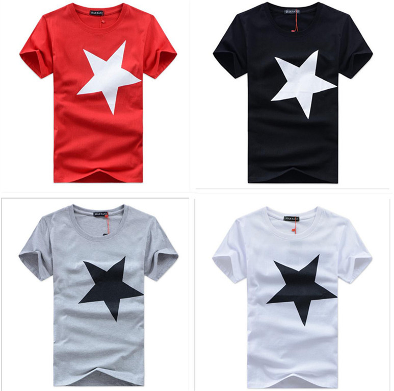 Free Shipping 2015 summer new large size men's short-sleeve cotton loose T-shirt men Pentagram men' casual t shirt(China (Mainland))