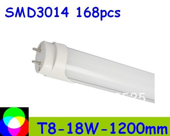 18W T8  high bright LED Tube 1200mm Light 18W SMD3014 168pcs Warm White/Cool White 1800lm PC Cover Free shipping 50pcs