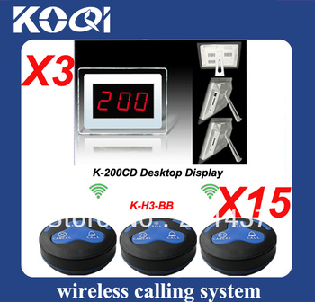 1set Wireless Calling System for a Restaurant with 15pcs H3-BB button and 3 receiver transmitted 300m in open area