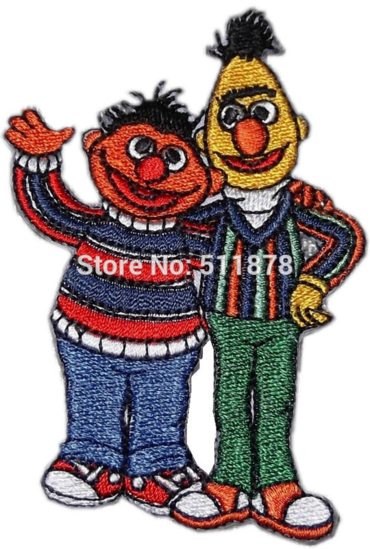 """3.3"""" Sesame Street BERT AND ERNIE Waving Pose Logo TV MOVIE SERIES EMBROIDERED Sew On Iron On Patch TRANSFER Badge Gift Favor(China (Mainland))"""