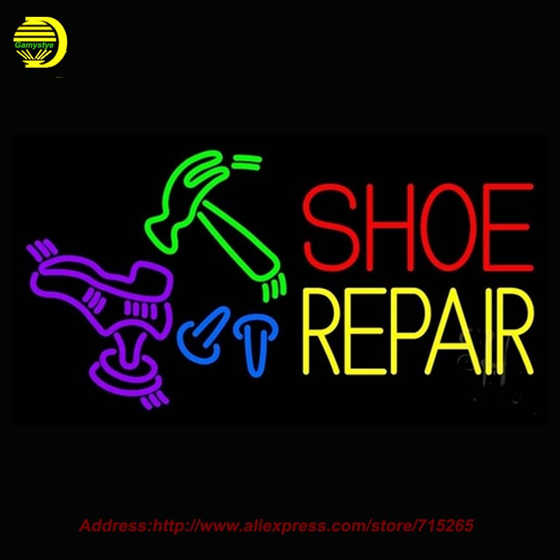 Shoe Repair Cobbler Outdoor Neon Sign Neon Bulb Handcrafted Glass Tube Shop Affiche Light Outdoor Neon Business Display 37x20(China (Mainland))