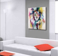 Hand Painted Color Animals Oil Painting Hang Paintings Modern Elephant Picture For Home Decor Canvas Painting AN-118A