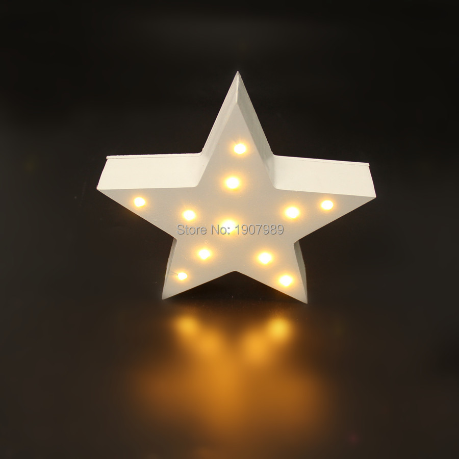 MINI white wooden star shape light LED  Marquee Light Sign LED light valentine's gift  Indoor Dorm FREE SHIPPING
