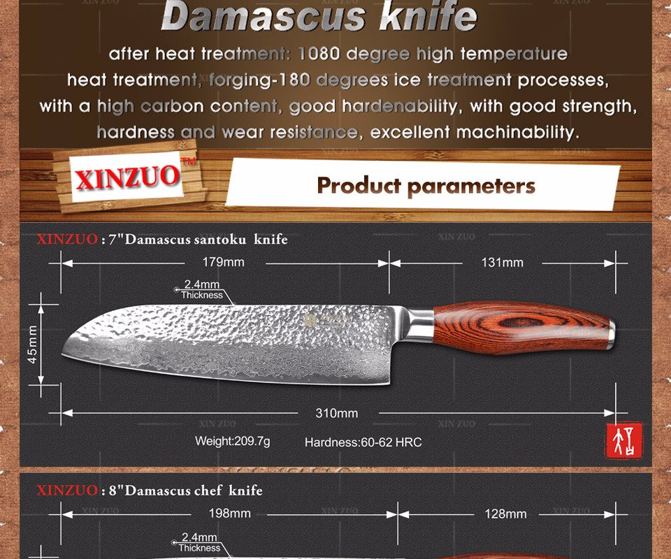 Buy XINZUO 3 pcs kitchen knife set Japanese VG10 Damascus kitchen knife set cleaver chef hammered striae forging free shipping cheap