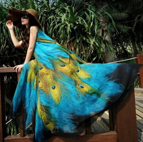 Fashion 2015 Summer New Long Section Chiffon Sleeveless Large Swing Peacock Print Dress Plus Size Bohemian Beach Dress Vestidos