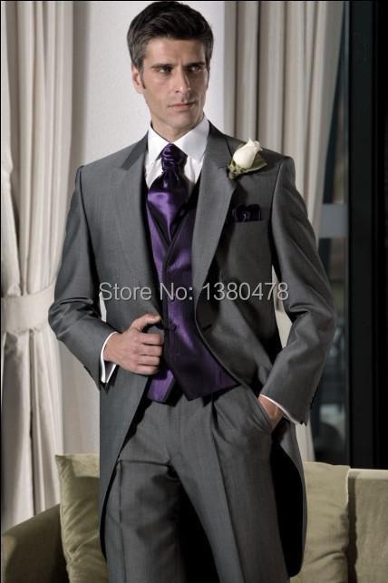 2014 Suits Grey Groom Tuxedos Notch Lapel Best Man Suit Wedding Groomsman Men Wedding Suits Bridegroom Jacket+Pants+Vest+Tie