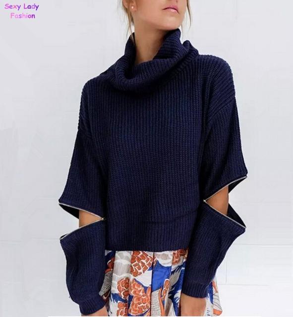 Осень черепаха-образным вырезом молния широкий свитер ретро новые женские высокая ...