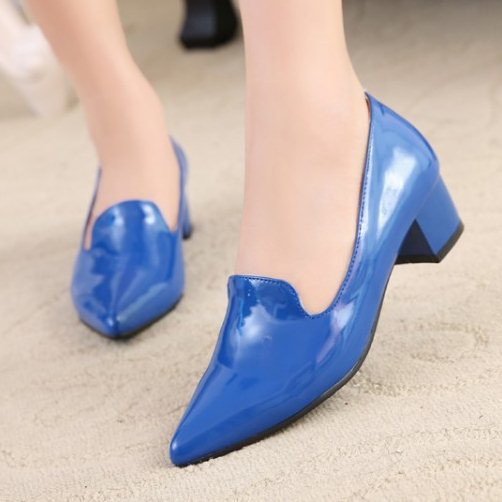 Plus size32-43 New Spring summer Women's shoes Mid heels Pointed toe Patent leather Glitter Square heels Fashion Sexy QL3710(China (Mainland))