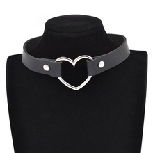 Gothic Punk Style Multi Color Alloy Heart Pendant PU Leather Choker Necklace Collar Chocker(China (Mainland))