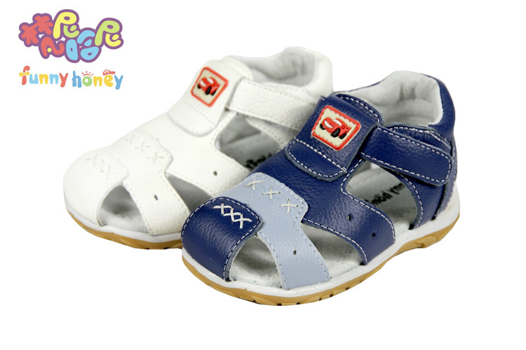 Free shipping 2015 cattle genuine leather sandals male children child shoes baby sandals beach boys girl sandal kids footwear(China (Mainland))