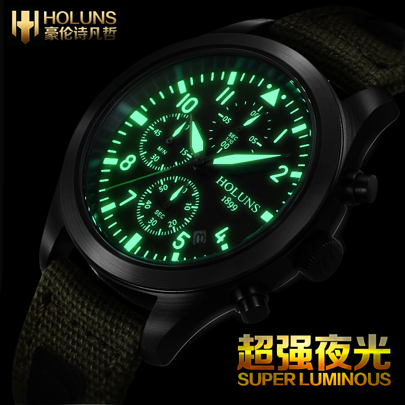 Military Luminous Quartz Watch Original HOLUNS Swiss Brand Watches Waterproof Men's Multi-purpose Chronograph Sports Fashion(China (Mainland))