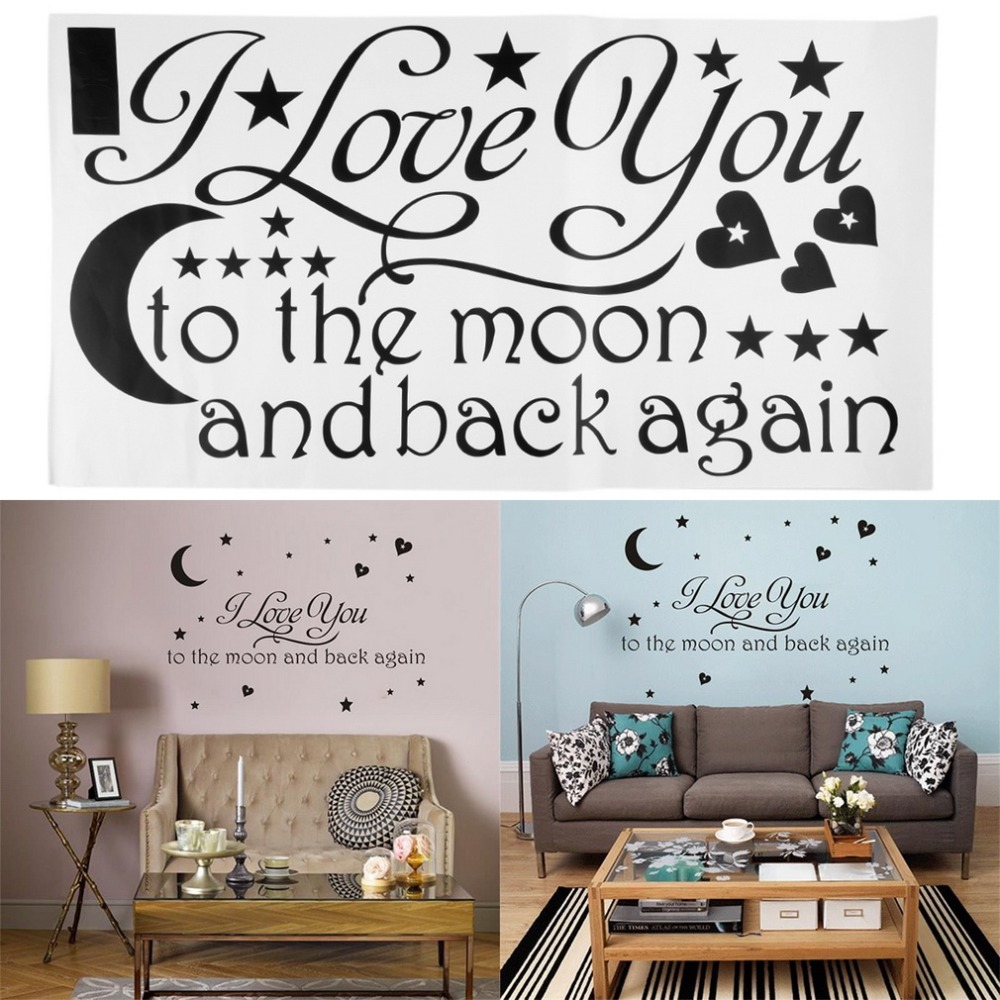 1set i love you to the moon and back again quote wall. Black Bedroom Furniture Sets. Home Design Ideas