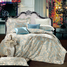 2017 Blue High Quality Silk Tencel satin Jacquard Bed linen Bedding set Queen king size Bedclothes Duvet cover set(China (Mainland))