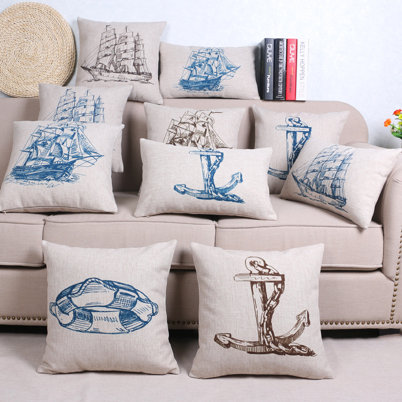 45cm Mediterranean Ship Fashion Cotton Linen Fabric Throw Pillow Hot Sale 18 Inch New Home Decor Sofa Car Cushion Office Nap FR