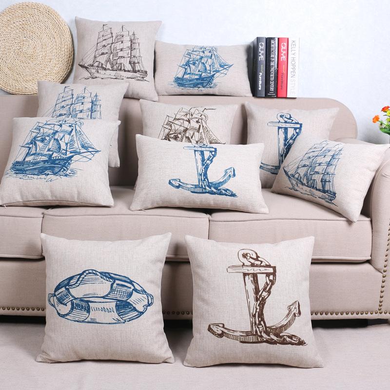 45cm Mediterranean Ship Fashion Cotton Linen Fabric Throw Pillow Hot Sale 18 Inch New Home Decor Sofa Car Cushion Office Nap FR