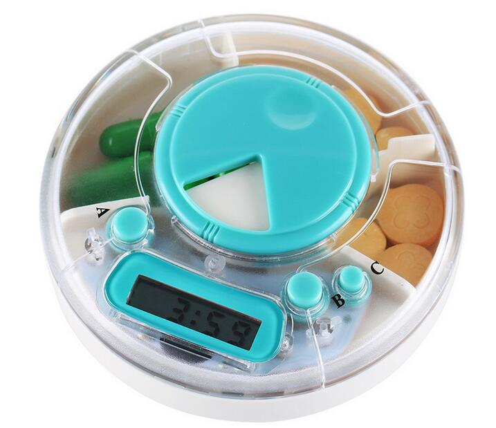 whosale 50pcs/lot Plastic Mini Pill Storage Case Medicine Box Timer Electronic Pillbox,Digital LCD Alarm Gift For The Aged(China (Mainland))