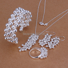 Factory price top quality Silver Plated & Stamped 925 nice Grape earrings+bracelet/bangle+ring+necklace  set 4pcs  (Hong Kong)
