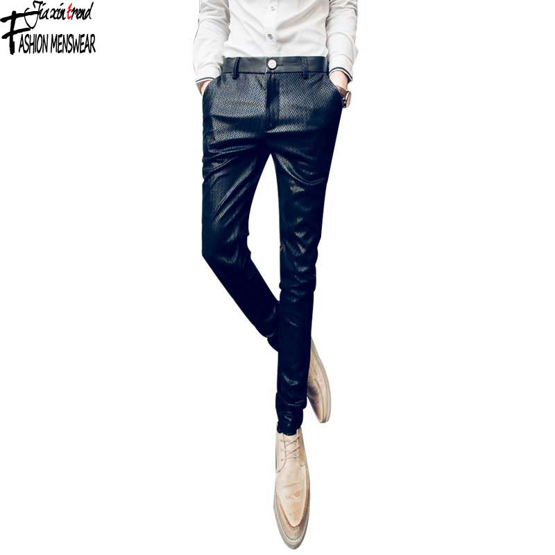 Mens Pants Casual Fashion Midweight Black Full Length Skinny Men Leather Pants  Mens Leather Pants Male Tight Одежда и ак�е��уары<br><br><br>Aliexpress