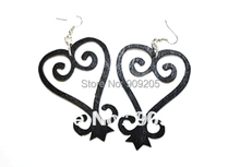 Free shipping 5pairs/lot  8cm size SANKOFA symbol Wooden Earrings can mixed colors  SM-E112(China (Mainland))