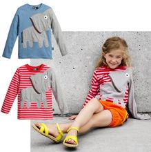 Baby Boy Girl Clothes Kids Clothes Cute Cartoon Elephant Asymmetric Lovely Long Sleeve Stripe Red/Blue Cloth Tops T-shirt 2~7T