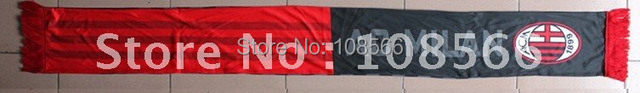Wholesale acmilan  lengthening  printed  soccer scarf /  red and black shawl