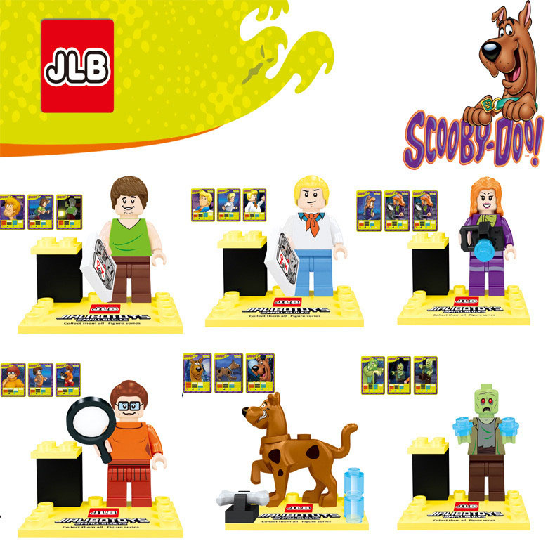 2016 New JLB 6pcs/set Cute Cartoon Movie Scooby Doo Dog Host Sharqi Building Doll 3D Model Minifigures Bricks Blocks - MM Toys Center store