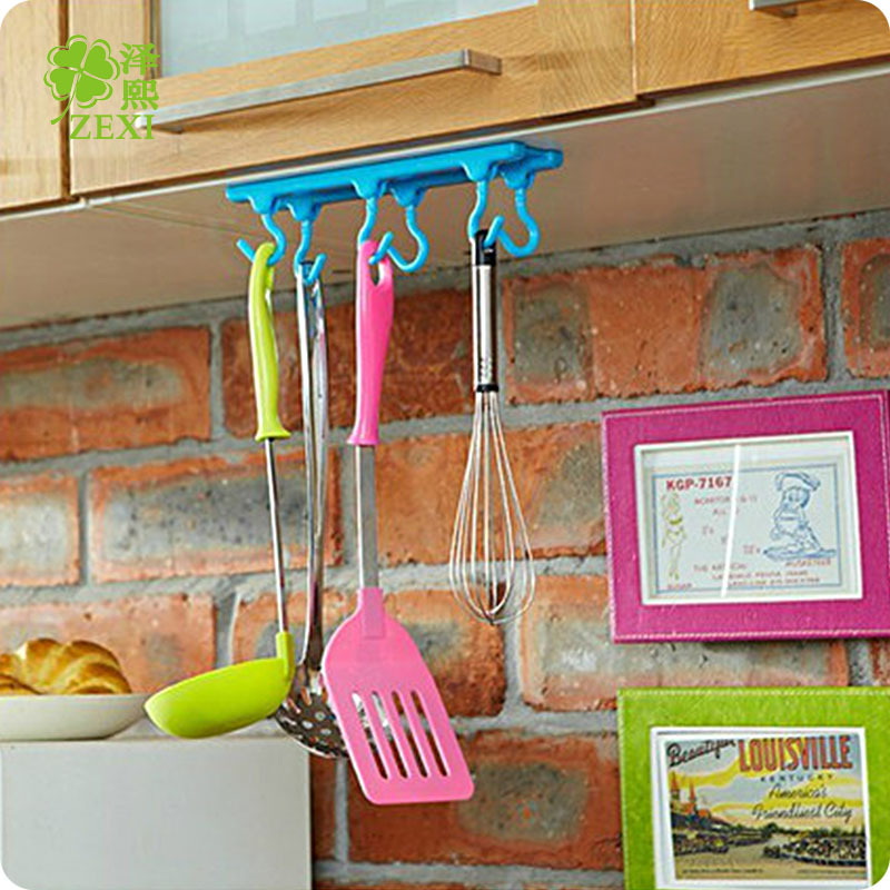 Multifunction Strong Wall Cabinet Storage 6 Sticky Hook Bathroom Hanging Rack Rod Wall Hook Organizer Kitchen Accessories(China (Mainland))