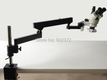 Envío gratis! 7X-90X Trinocular brazo articulado pilar Clamp 56-LED microscopio Zoom estéreo
