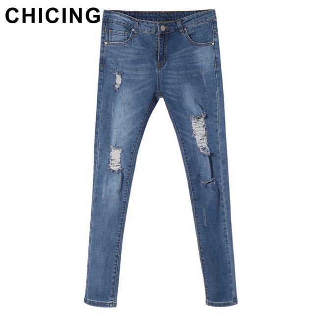 Chicing рваные джинсы женщин новый 2016 весна-хай-стрит урожай высота талия тощие ...