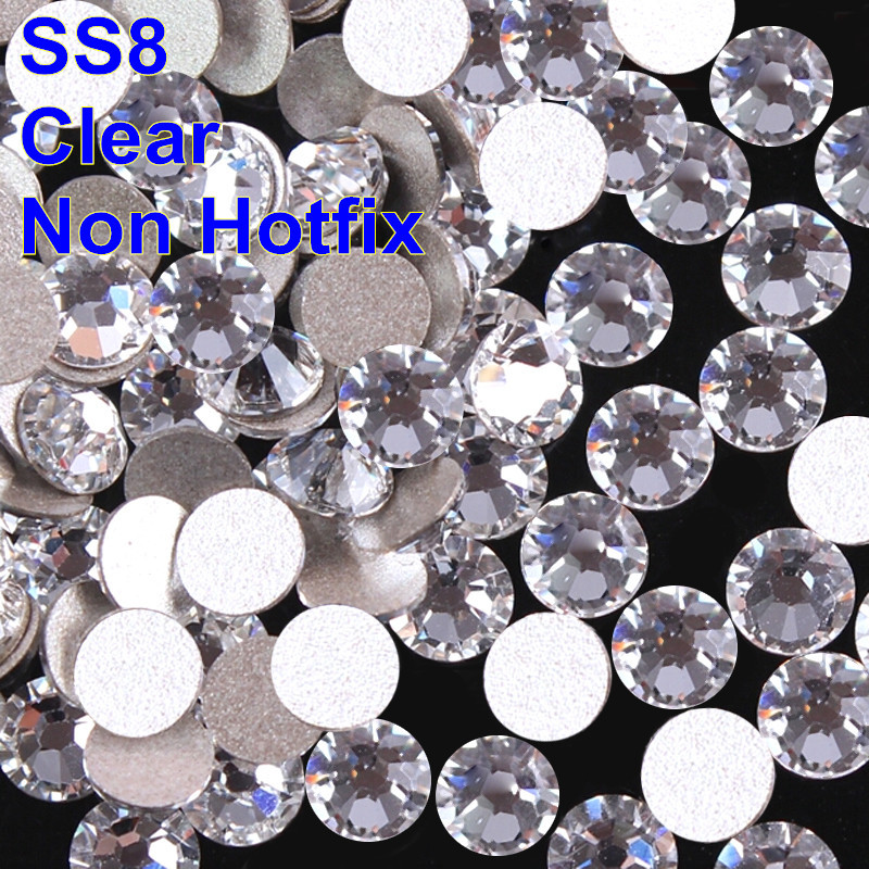 Amazing Accessories White Color Non Hotfix Stones 2.5mm SS8 1440pcs Crystal Clear Nail Art Rhinestone(China (Mainland))