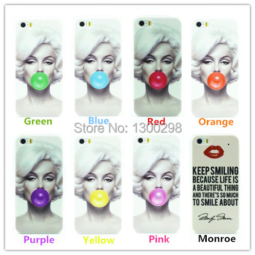 Stylish Marilyn Monroe Bubble Gum Hard Cover Case For iPhone 5 5G 5S Protective Back Case Cover For Apple 5 5G 5S Free Shipping(China (Mainland))
