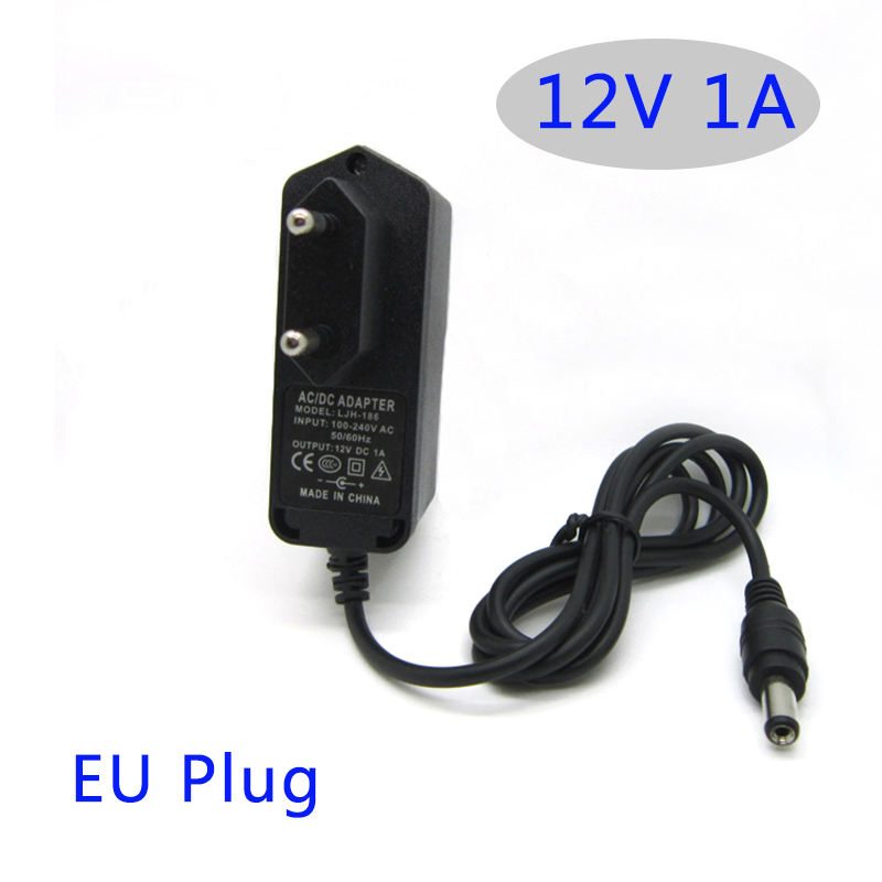 AC DC power adapter 12V 1A 1000MA 12W Converter Adapter Charger Plastic case LED driver wall-mounted with EU plug(China (Mainland))