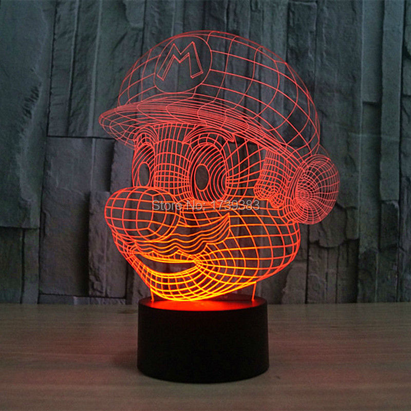 Free Shipping USB charging color changing Nintendo Cartoon Game 3D Super Mario LED Night Light of Multicolor night lamp(China (Mainland))