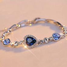 stilvolle frauen neue mode Ozean blaue band vernickelt kristall strass herzen charme armband geschenk schmuck(China (Mainland))