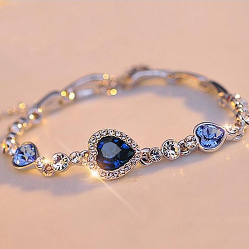 Stylish Women New Fashion Ocean Blue Sliver Plated Crystal Rhinestone Heart Charm Bracelet Bangle Gift Jewelry(China (Mainland))