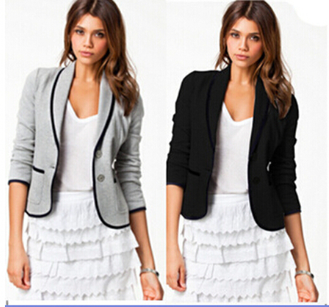 FREE Shipping 2015 Autumn New Fashion Style Women Business Suit Jackets Candy black / gray two Button Blazers(China (Mainland))